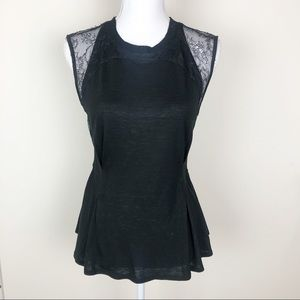 Rebecca Taylor🍁 lace cotton black peplum top